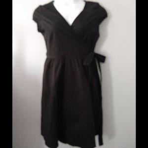 Flattering Black Wrap Dress - X- Large